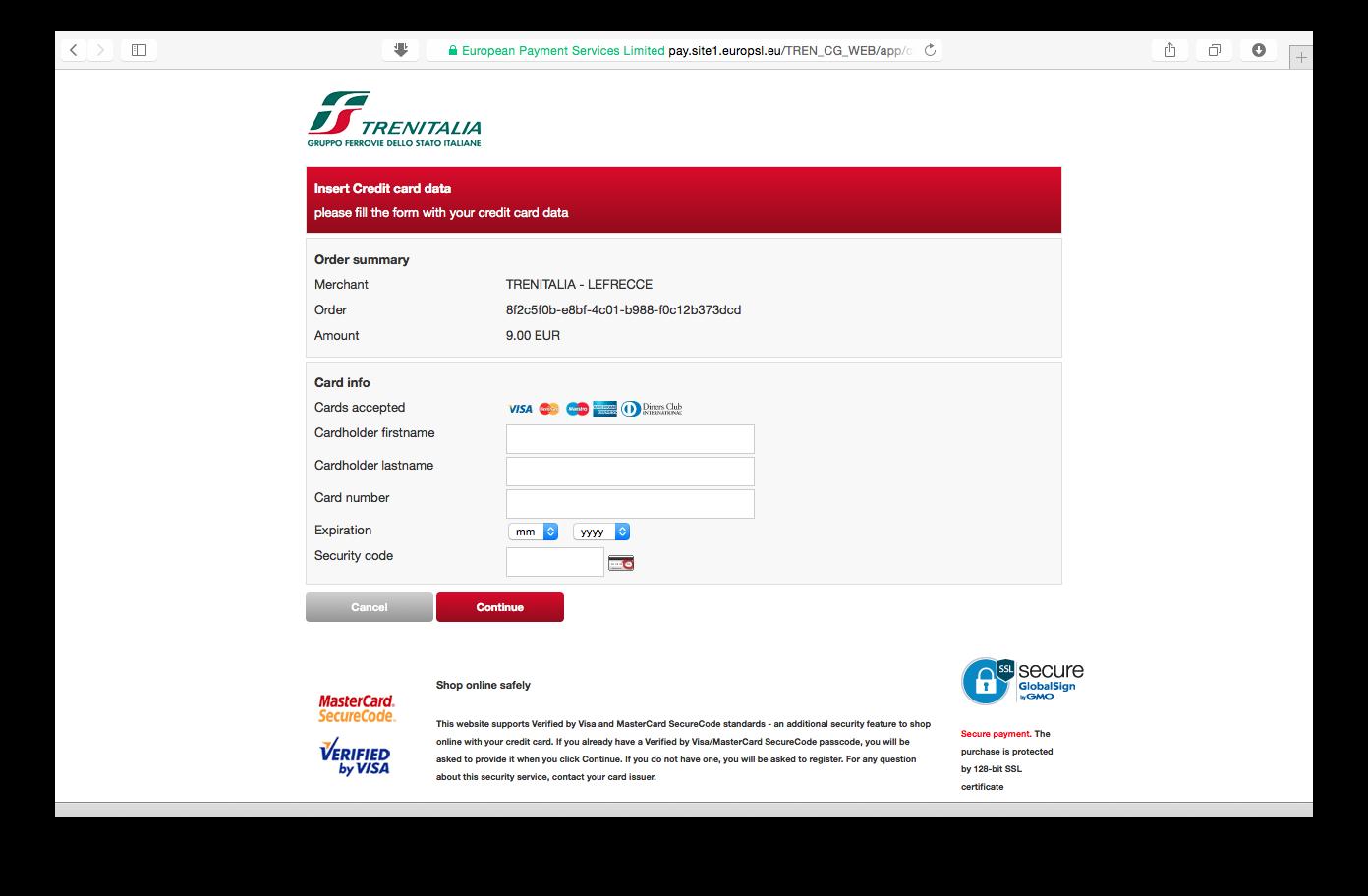 Tampilan web Trenitalia: halaman pembayaran