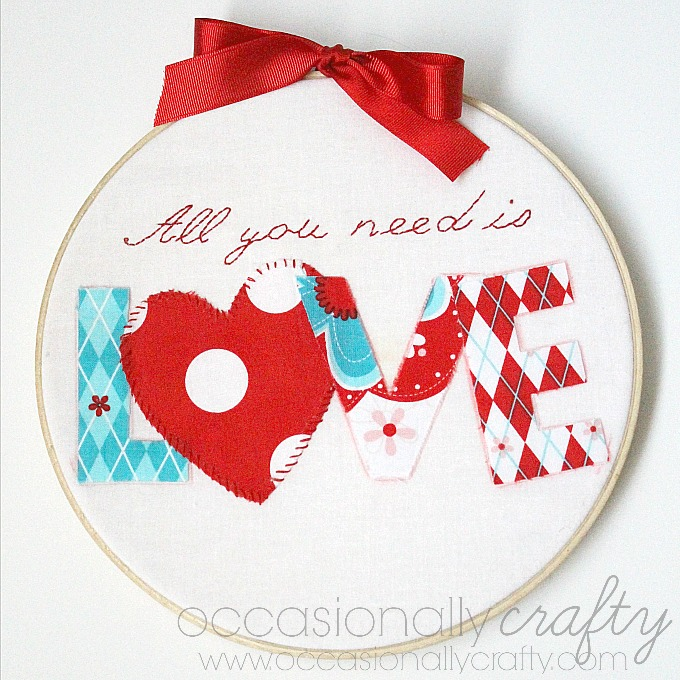 Valentine S Day Embroidery Hoop Art Occasionally Crafty