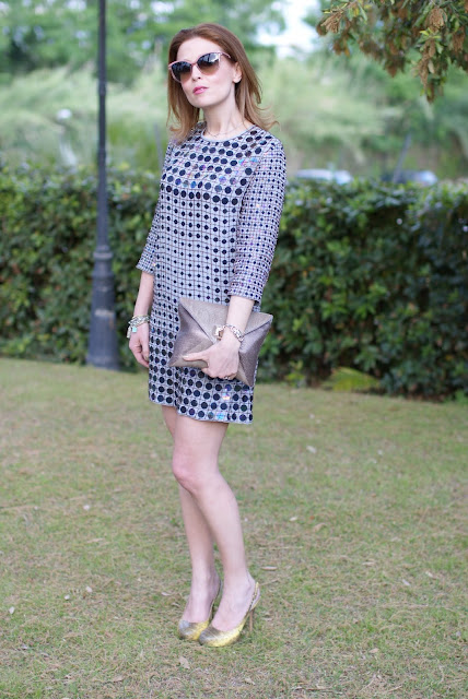 French connection mini dress, envelope clutch, stella mccartney sunglasses, Fashion and Cookies