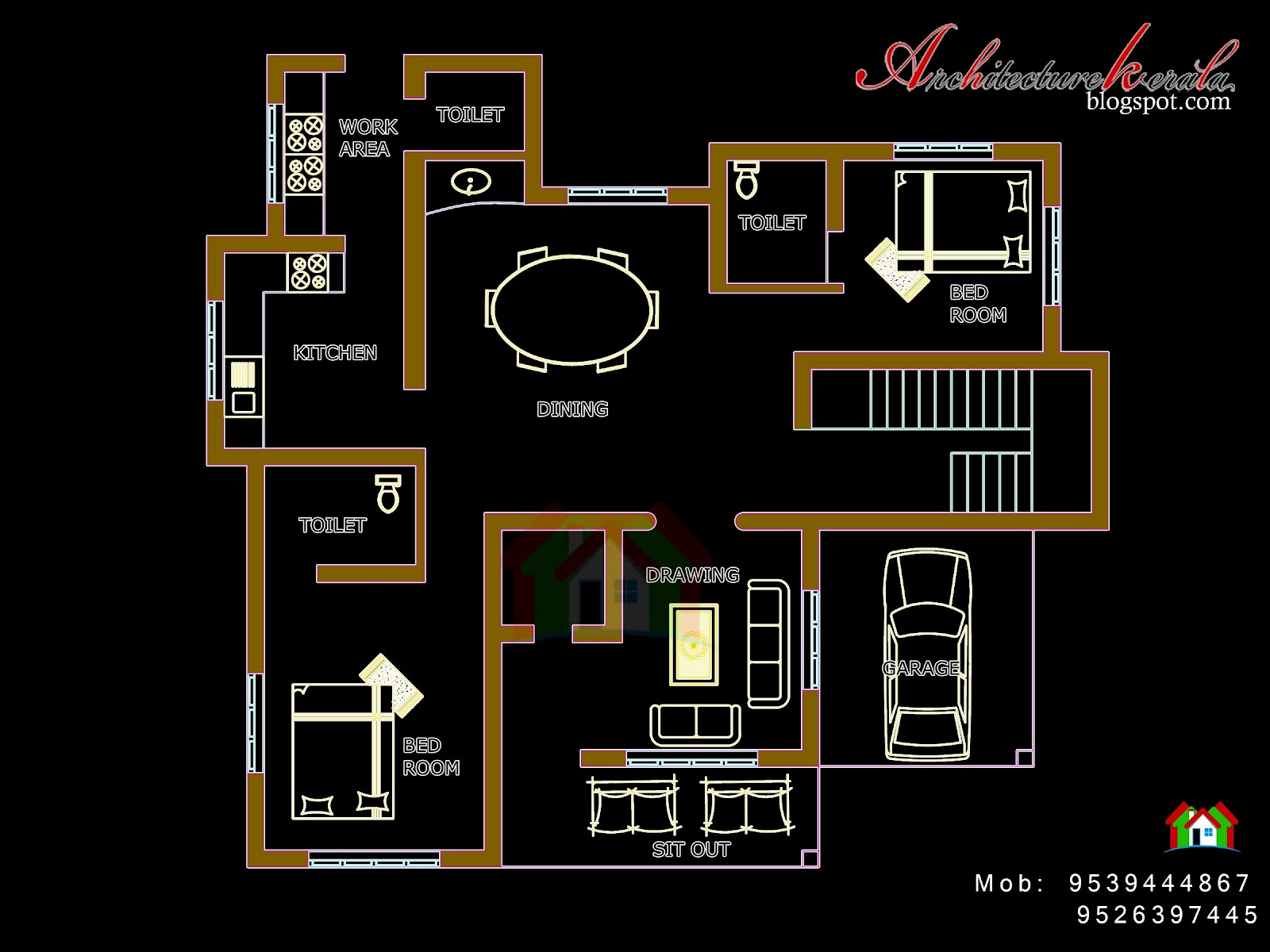 Architecture kerala four bed room house plan for Four room house plan