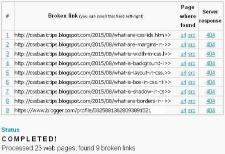 This is the result of all broken links of CSSBasicTips with the help of broken link checker.