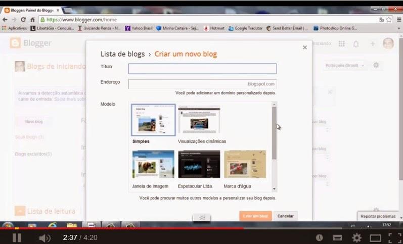 Como criar um Blogger