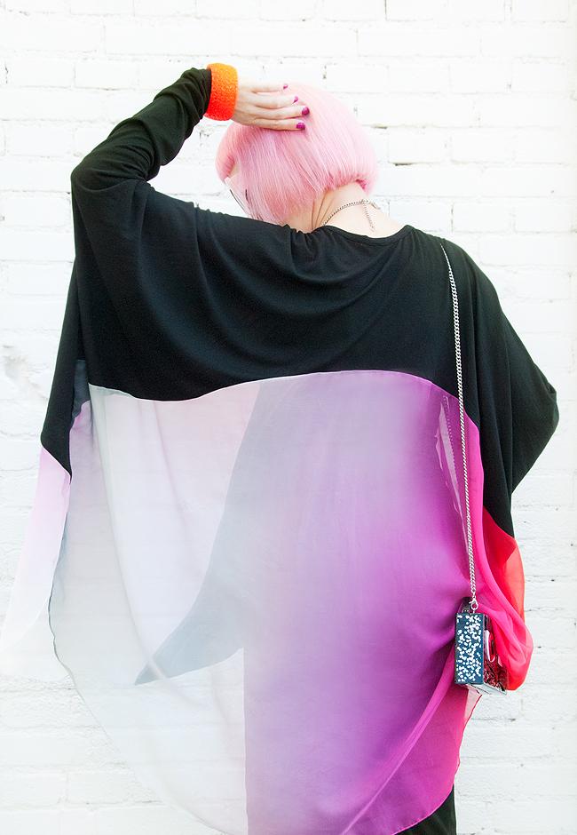 dip dye blouse, streetstyle, silk blouse
