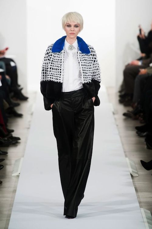 runway look: Oscar De La Renta NYFW F/W2014 with blue collar coat
