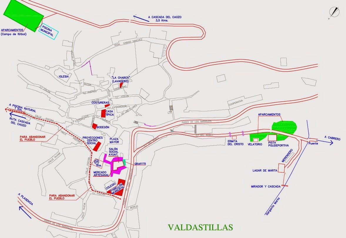 Mapa. Cerezo en Flor en Valdastillas. Valle del Jerte.