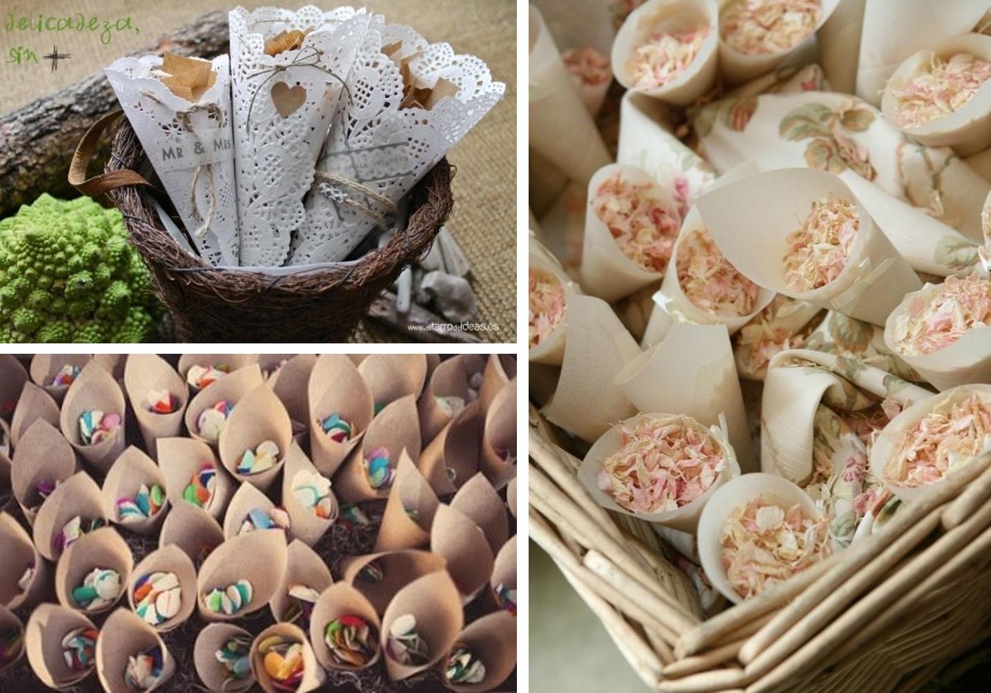 Cucuruchos de papel para guardar pétalos y confetti para boda