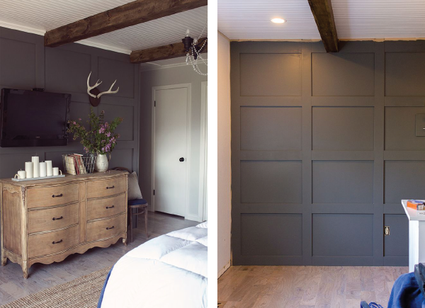 Dark Grey DIY Paneled Accent Wall