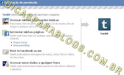autorizar atualizações do tumblr no facebook