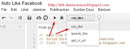 Cara Menjalankan Script Auto Like Facebook di Google Script