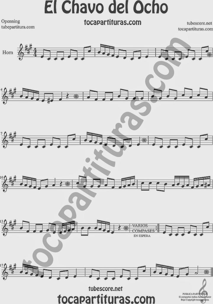 El Chavo del Ocho  Partitura de Trompa y Corno Francés en Mi bemol Sheet Music for French Horn Music Scores