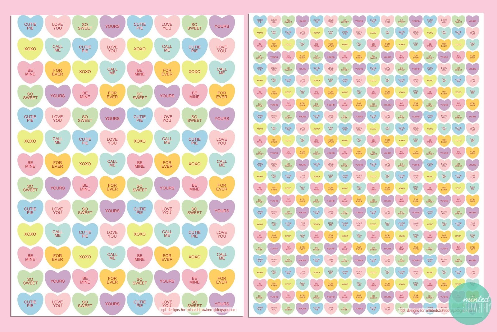 Free printable candy heart gift wraps tags minted strawberry okay negle Gallery