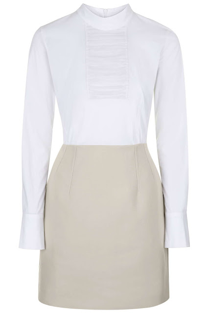 topshop unique shirt dress, white top beige skirt dress,