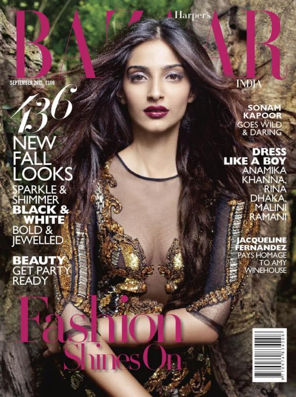 , Sonam Kapoor On Harper's Bazaar Magazine Cover September 2011