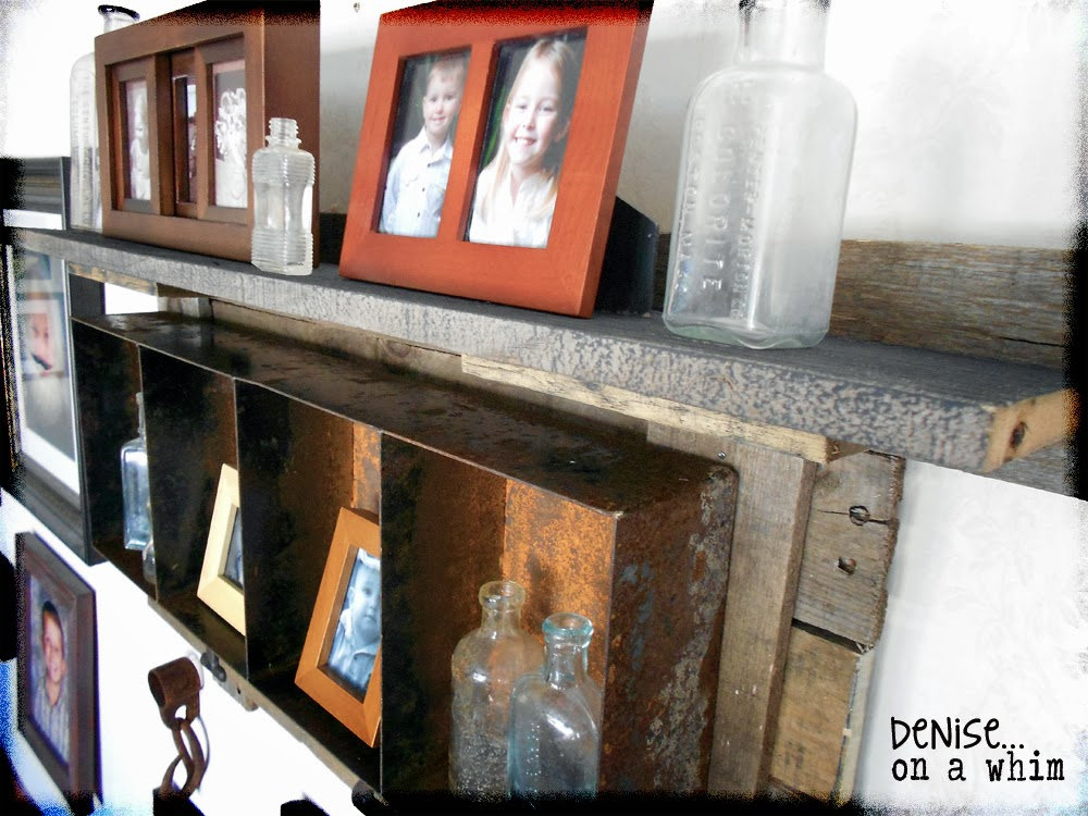 A Rusty Bin Turned Shelf via http://deniseonawhim.blogspot.com