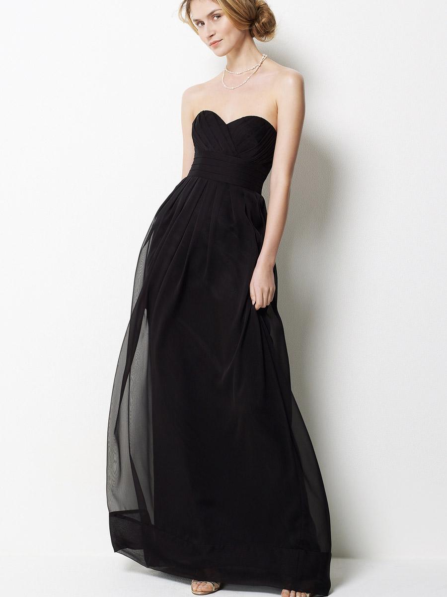 Black chiffon strapless long bridesmaid dress wedding beta for Weddings with black bridesmaid dresses