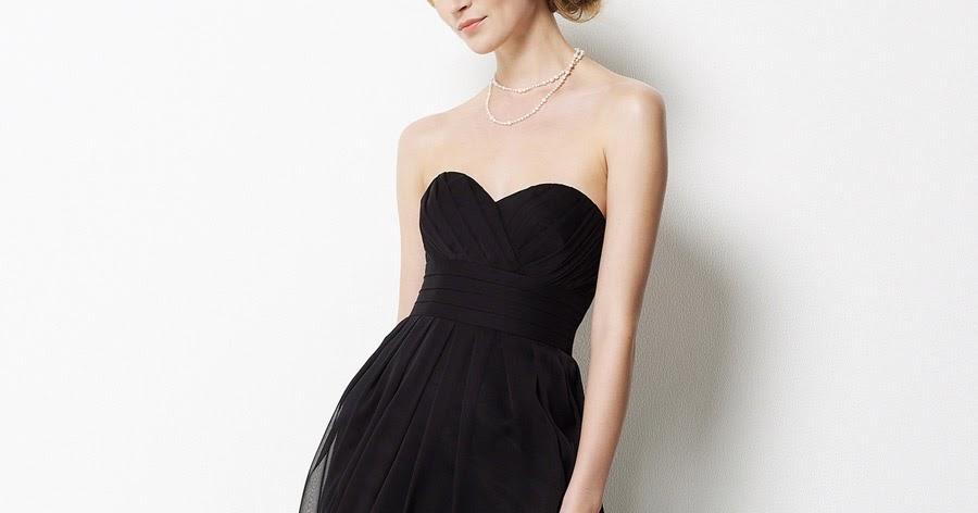 Black Chiffon Strapless Long Bridesmaid Dress
