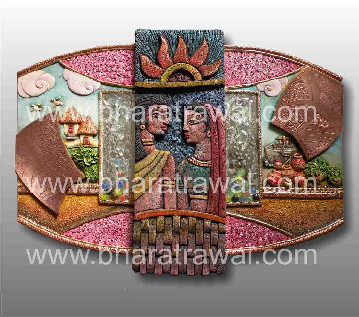 Mural art by muralguru bharat rawal siporex ceramic glass for 3d clay mural painting