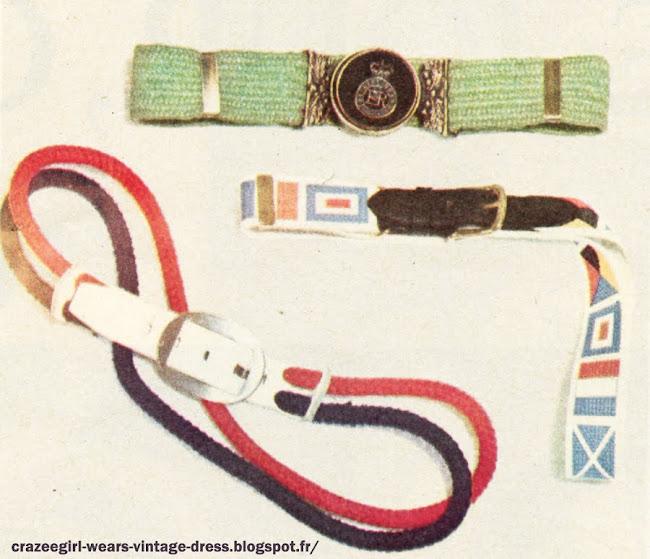 Ceinture élastique verte à boucle écusson. (29 F à La Bagagerie.) Ceinture imprimée façon drapeau.(25 F à la Bagagerie.) Ceinturefaite de deux cordonnets, un rouge et un marine. (L'Aiglon 18,50 F chez Lanvin.) belt 60s 1960 1966 accessories