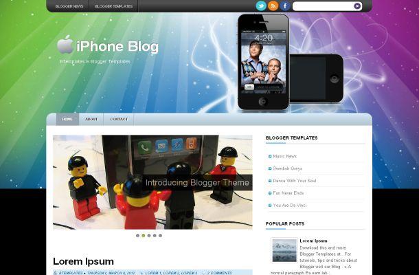 Free Black Iphone Grunge Blogger Template