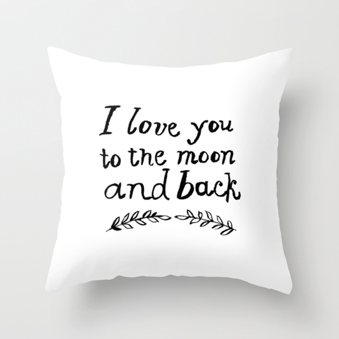 I love you to the moon white pillow