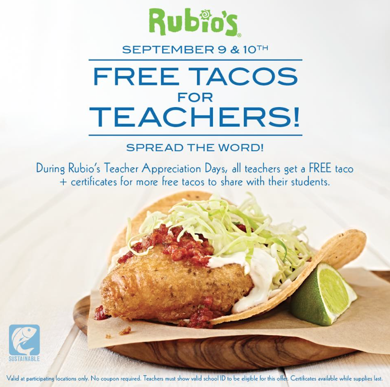 Arizona families free fish tacos for teachers and for Rubios fish tacos