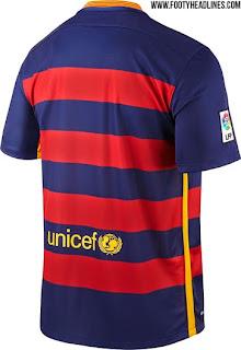 detail bagian belakang jersey terbaru Jersey Barcelona home terbaru musim depan 2015/2016
