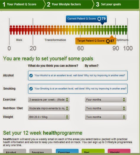 myhealth tool goal setting page