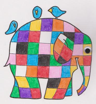 Elmer Patchwork Elephant Coloring Lines Across - Gekimoe