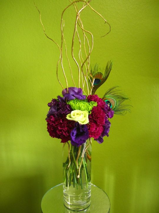 Bernardo s flowers peacock feather wedding centerpieces