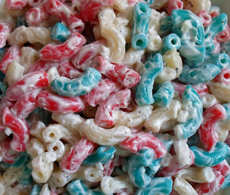 red, white & blue dyed pasta