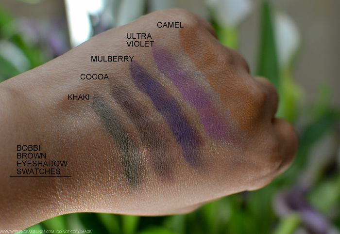 Bobbi Brown Eyeshadows Swatches - Khaki Cocoa Mulberry Ultraviolet Camel