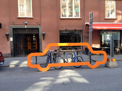 car outline serves as bike parking in malmo