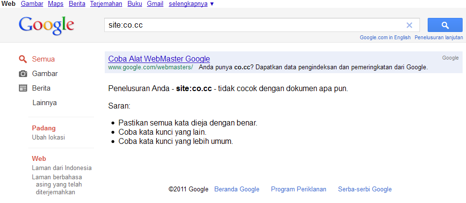 Google Membanned domain co.cc | Khamardos blog