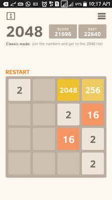 tak pernah menang, game 2048, cara bermain game 2048, kebaikan bermain game, kesan bermain game