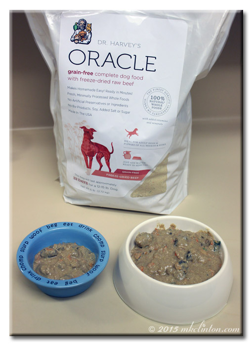 Two bowls of Dr. Harvey's Oracle Dog food