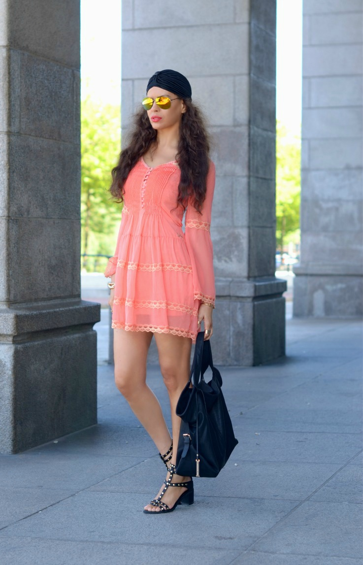 H&M gladiator sandals,Jacky Luxury dress,Black turban,Yellow mirrored sunglasses,Trendy,Summer outfit,Coral dress