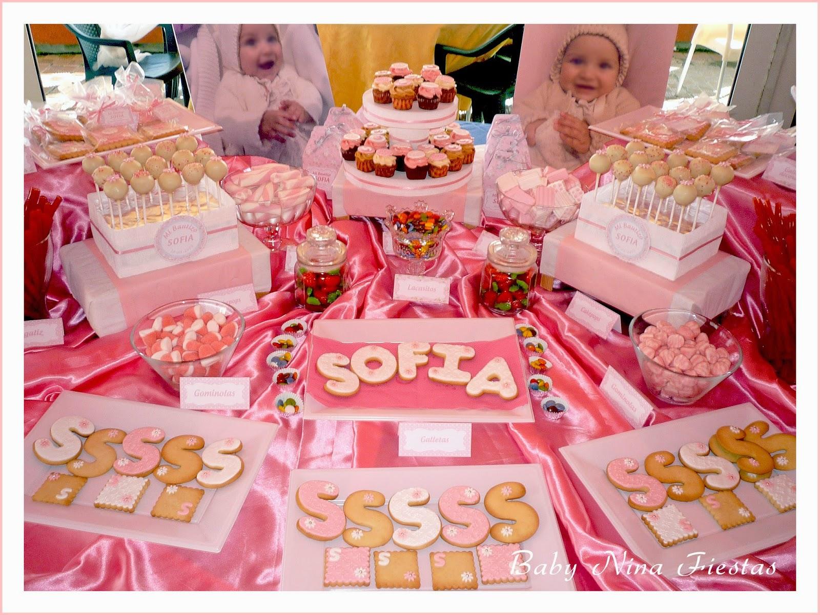 Baby nina fiestas bautizo de sofia for Mesa de dulces para bautizo de nina