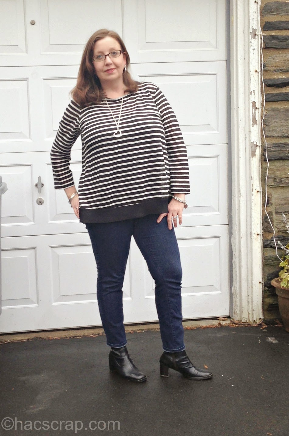 Striped T-Shirt from Ralph Lauren, Styled with Skinny Jeans and Black Ankle Boots