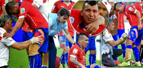 """رجولة"""" و حماس جاري ميديل لاعب تشيلي الذي ركض 10 كيلومتر وهو مصاب !"""