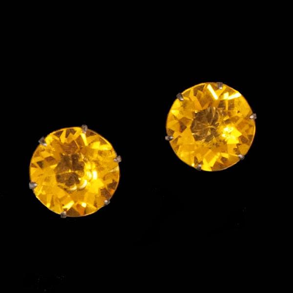 Vintage Sterling Czech Amber Rhinestone Earrings