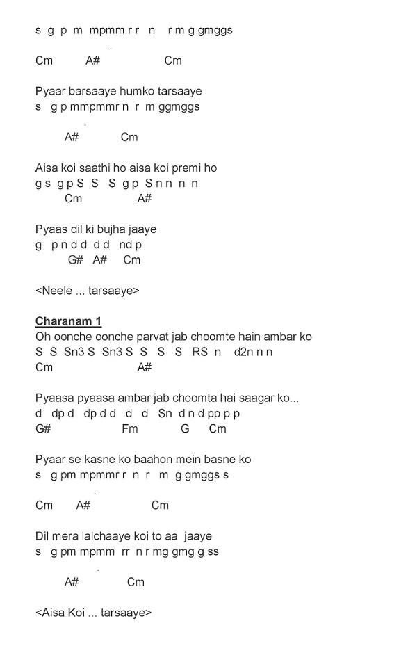 Hindi Song Notes And Keys Neele Neele Ambar Par