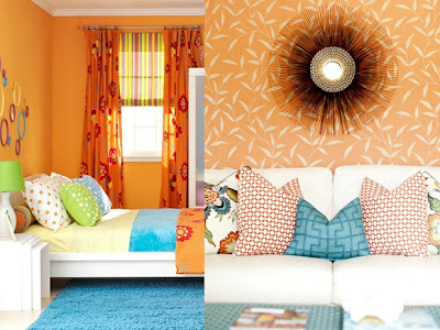 decoración con color naranja
