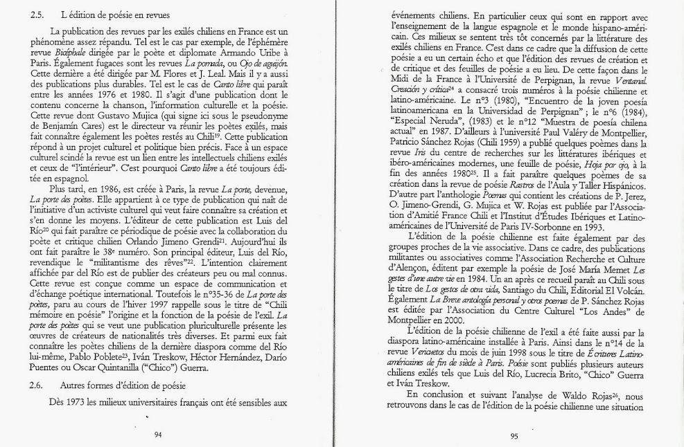 """BERCHENKO, Pablo., """"Stratégies de l'édition de la poésie chilienne de l'exil en France (1973-1990)"""""""
