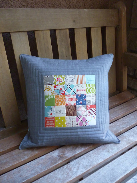 scrappy square patchwork linen colorful pillow