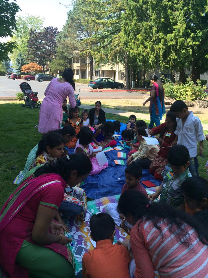 Indian Independence day in USA, Mothers and kids with Indian flags, Indian mothers and children, Summerhill Events