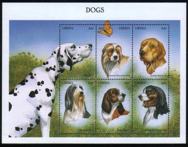 1999年リベリア共和国 ダルメシアン ピレニアン・マウンテン・ドッグ ゴールデン・レトリーバー ビアデッド・コリー バセット・ハウンド バーニーズ・マウンテン・ドッグの切手シート