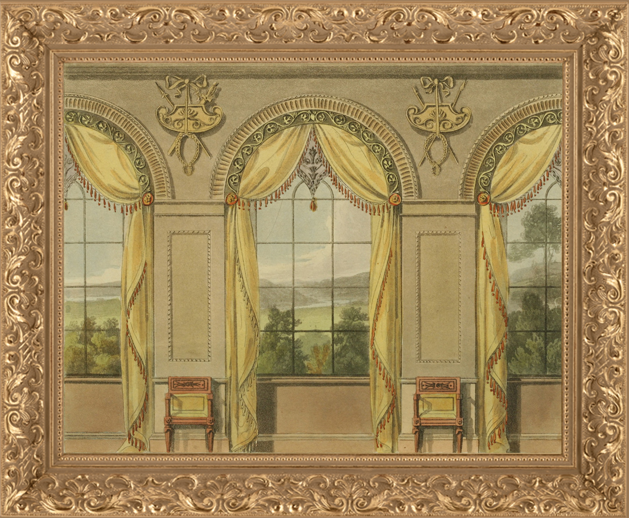 1816 Ackermanns Repository Furniture Plate Showing Curtained Windows