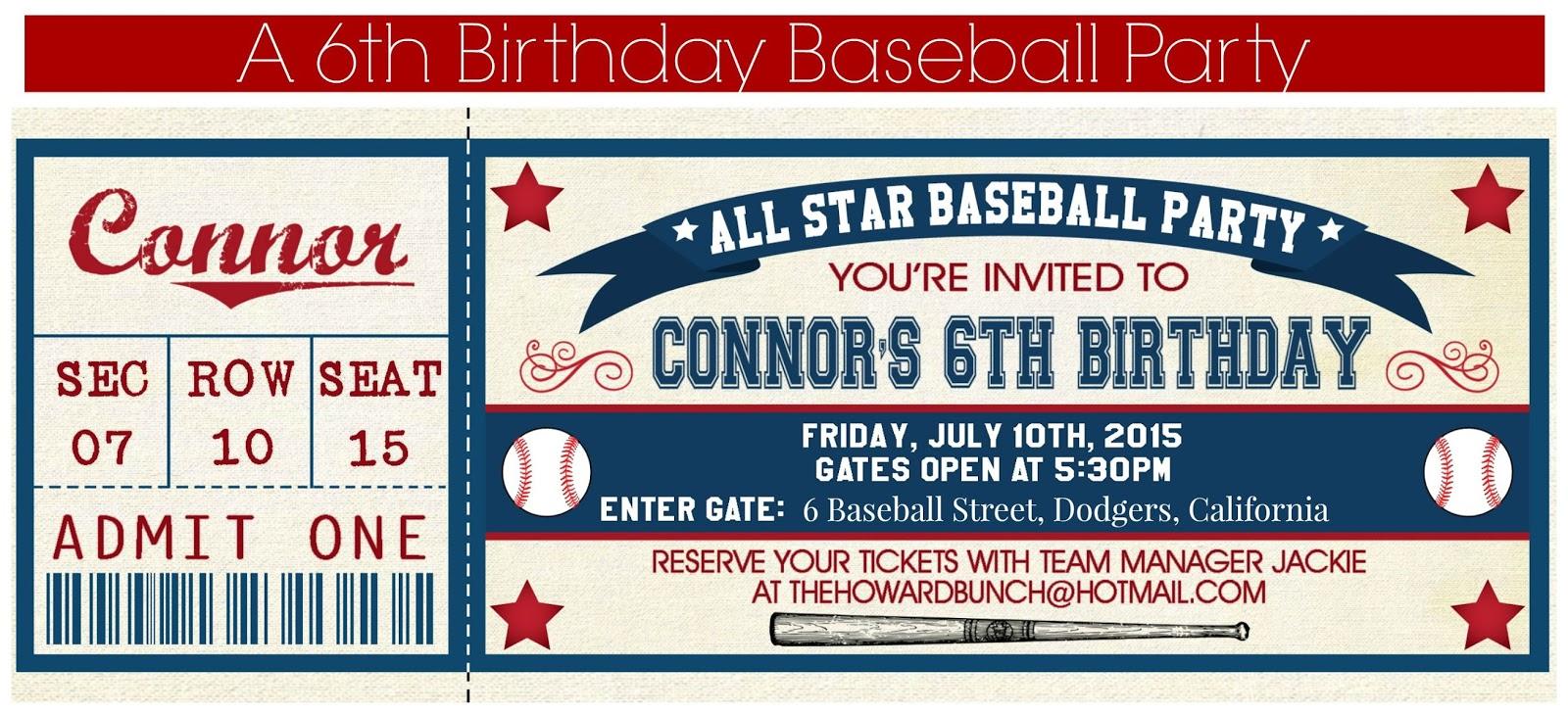 The Howard Bunch A Baseball Themed Sixth Birthday – Baseball Themed Birthday Invitations