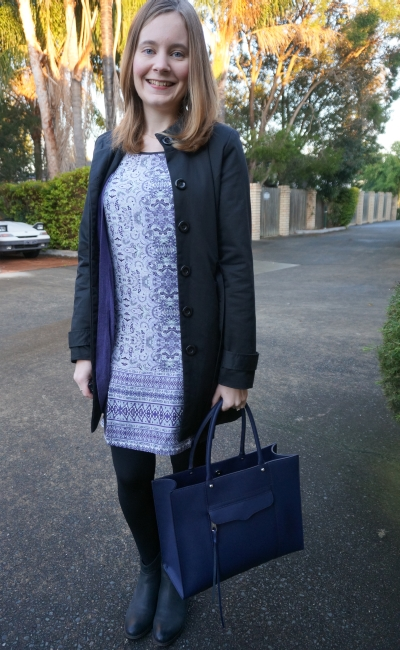 Silk print shift dress winter office wear ankle boots purple cardi navy tote