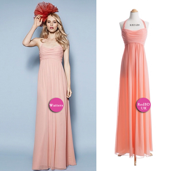 Halter Coral Long Bridesmaid Dress